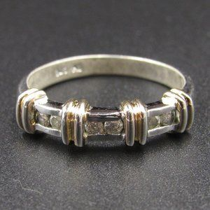 Size 8 Sterling Silver Two Tone CZ Diamond Ring